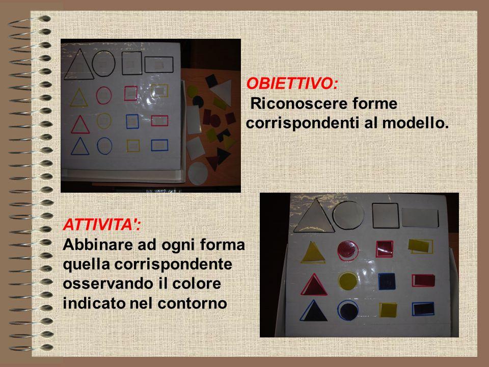 OBIETTIVO: Riconoscere forme corrispondenti al modello. ATTIVITA': Abbinare ad ogni forma quella corrispondente osservando il colore indicato nel cont
