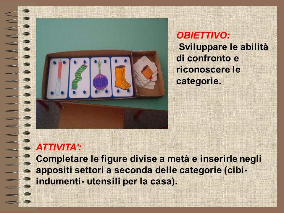 OBIETTIVO: Sviluppare le abilità di confronto e riconoscere le categorie. ATTIVITA': Completare le figure divise a metà e inserirle negli appositi set