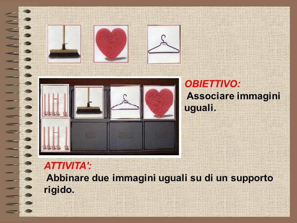OBIETTIVO: Associare immagini uguali. ATTIVITA': Abbinare due immagini uguali su di un supporto rigido.