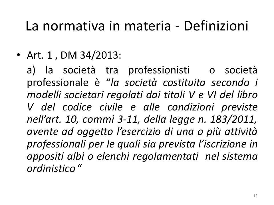 La normativa in materia - Definizioni Art.