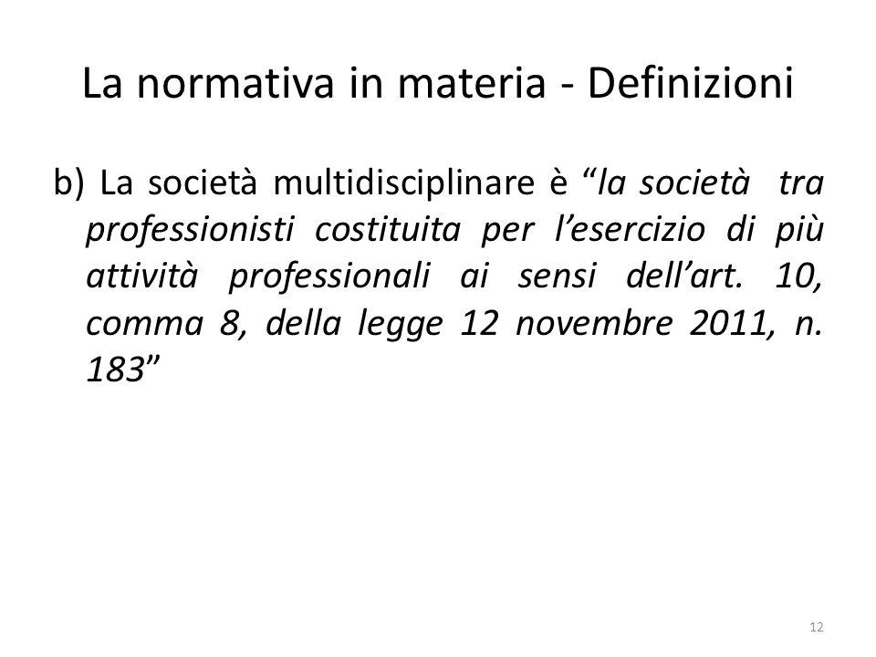 La normativa in materia - Definizioni b) La società multidisciplinare è la società tra professionisti costituita per lesercizio di più attività professionali ai sensi dellart.