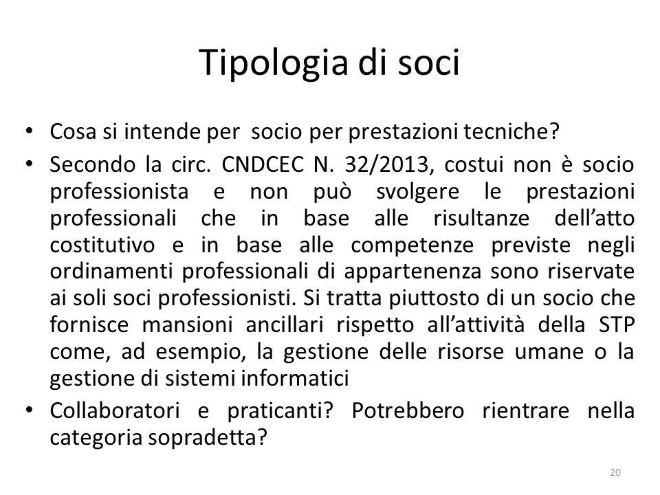 Tipologia di soci Cosa si intende per socio per prestazioni tecniche.