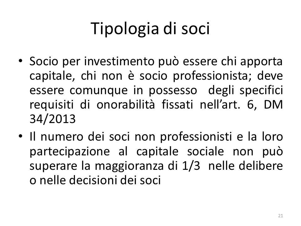 Tipologia di soci Socio per investimento può essere chi apporta capitale, chi non è socio professionista; deve essere comunque in possesso degli specifici requisiti di onorabilità fissati nellart.