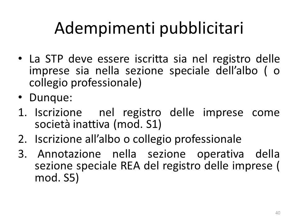 Adempimenti pubblicitari La STP deve essere iscritta sia nel registro delle imprese sia nella sezione speciale dellalbo ( o collegio professionale) Dunque: 1.Iscrizione nel registro delle imprese come società inattiva (mod.