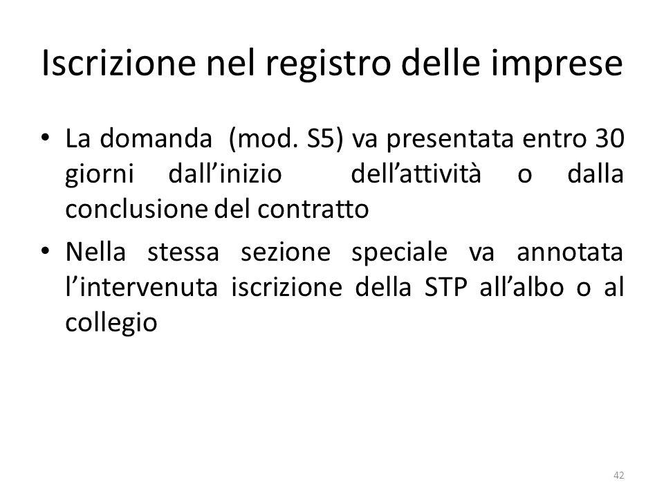 Iscrizione nel registro delle imprese La domanda (mod.