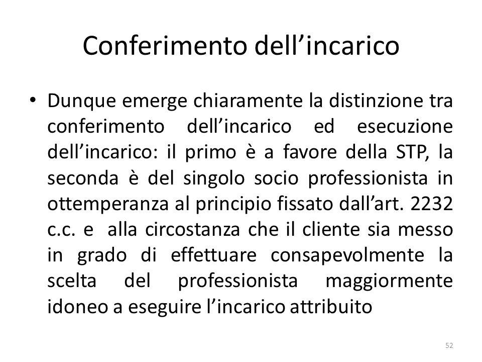 Conferimento dellincarico Dunque emerge chiaramente la distinzione tra conferimento dellincarico ed esecuzione dellincarico: il primo è a favore della STP, la seconda è del singolo socio professionista in ottemperanza al principio fissato dallart.