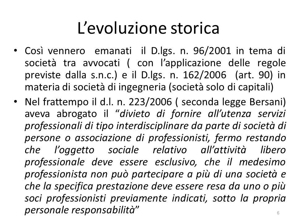 Tipo di società Il rinvio ai modelli societari permette di includere anche le s.r.l.s..