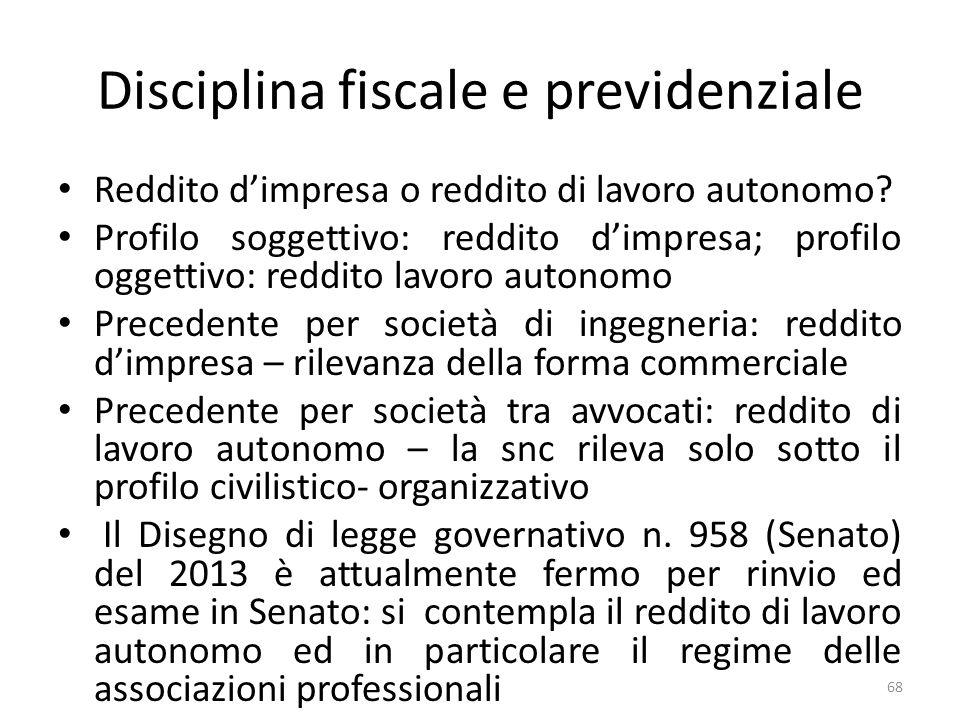 Disciplina fiscale e previdenziale Reddito dimpresa o reddito di lavoro autonomo.