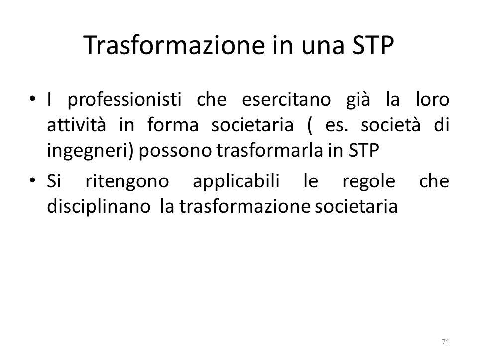 Trasformazione in una STP I professionisti che esercitano già la loro attività in forma societaria ( es.