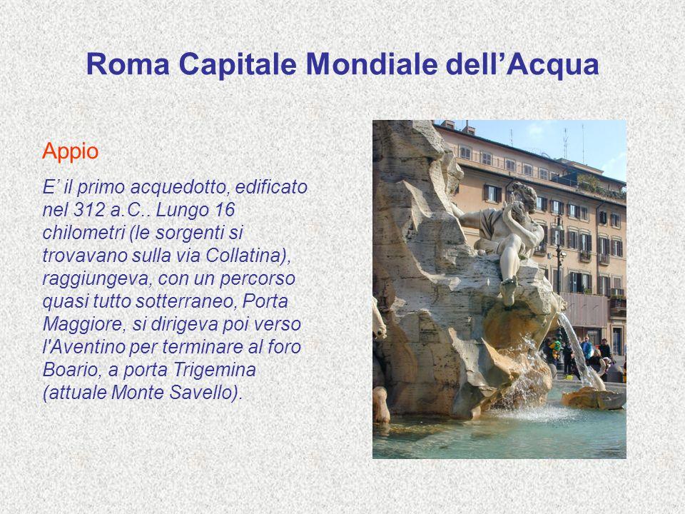 Roma Capitale Mondiale dellAcqua Appio E il primo acquedotto, edificato nel 312 a.C.. Lungo 16 chilometri (le sorgenti si trovavano sulla via Collatin