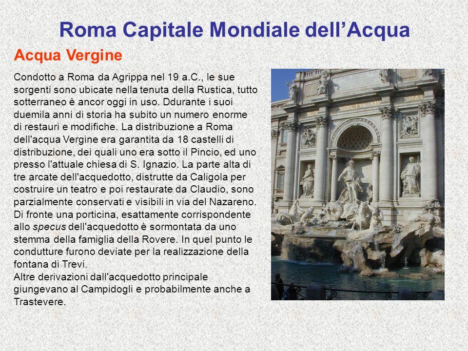 Roma Capitale Mondiale dellAcqua Acqua Vergine Condotto a Roma da Agrippa nel 19 a.C., le sue sorgenti sono ubicate nella tenuta della Rustica, tutto