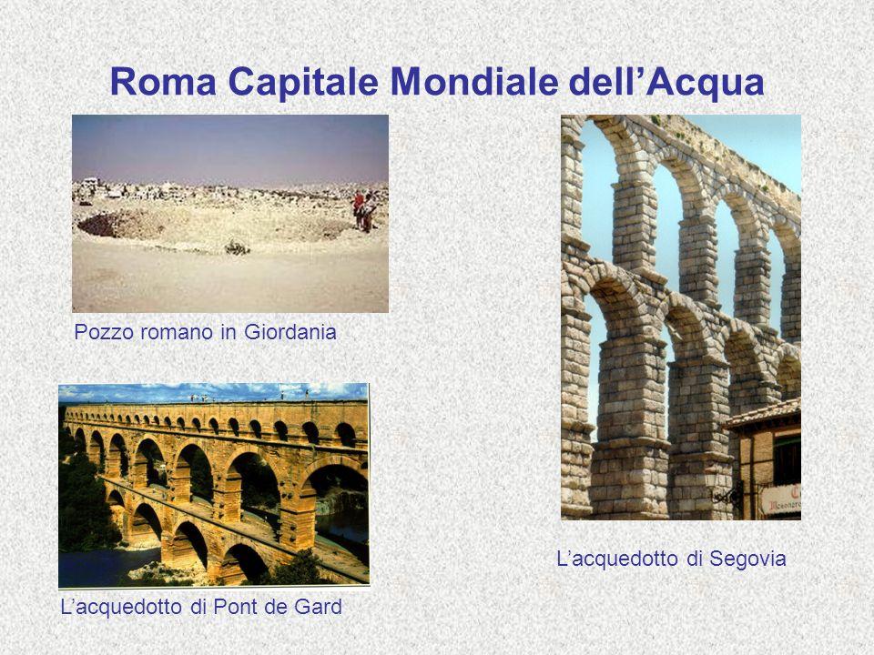 Roma Capitale Mondiale dellAcqua Pozzo romano in Giordania Lacquedotto di Segovia Lacquedotto di Pont de Gard