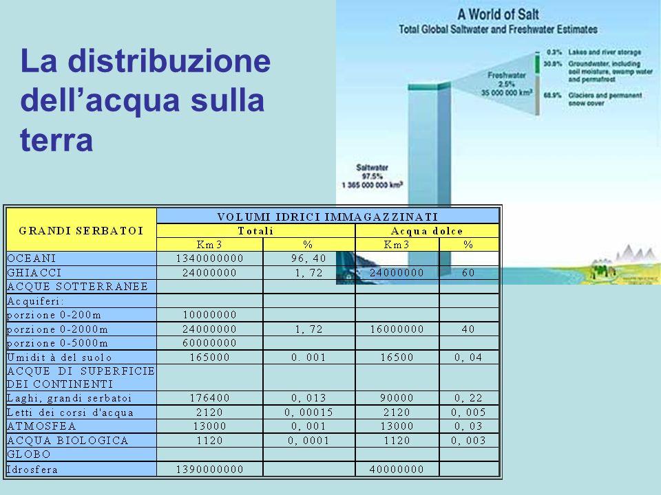 La distribuzione dellacqua sulla terra