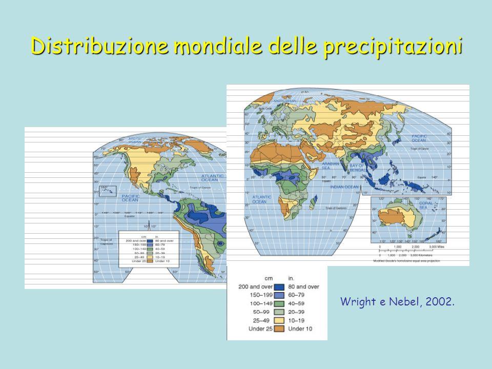 Distribuzione mondiale delle precipitazioni Wright e Nebel, 2002.