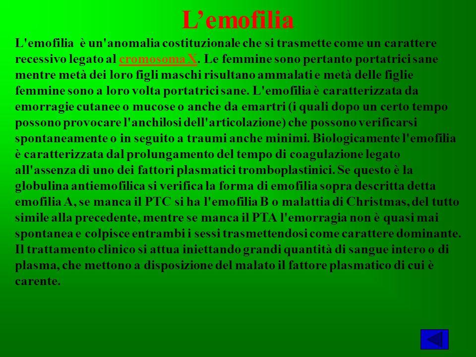 Lemofilia L emofilia è un anomalia costituzionale che si trasmette come un carattere recessivo legato al cromosoma X.