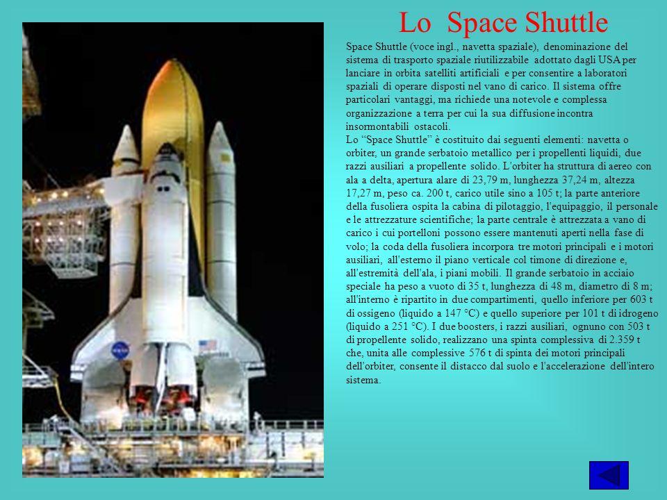 Lo Space Shuttle Space Shuttle (voce ingl., navetta spaziale), denominazione del sistema di trasporto spaziale riutilizzabile adottato dagli USA per lanciare in orbita satelliti artificiali e per consentire a laboratori spaziali di operare disposti nel vano di carico.