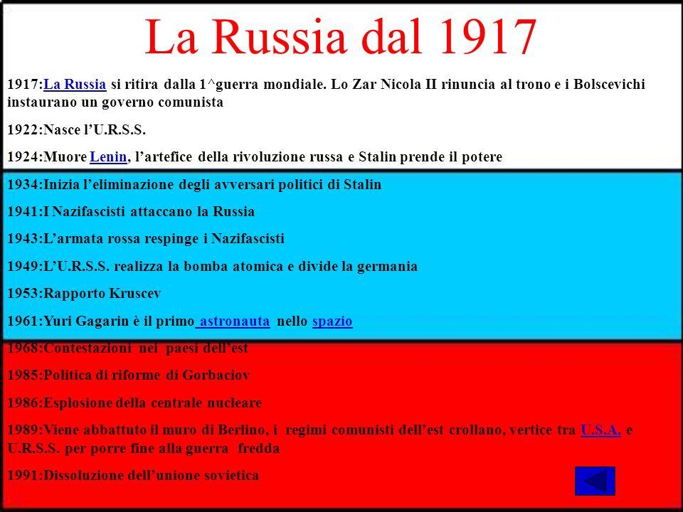 La Russia dal 1917 1917:La Russia si ritira dalla 1^guerra mondiale.