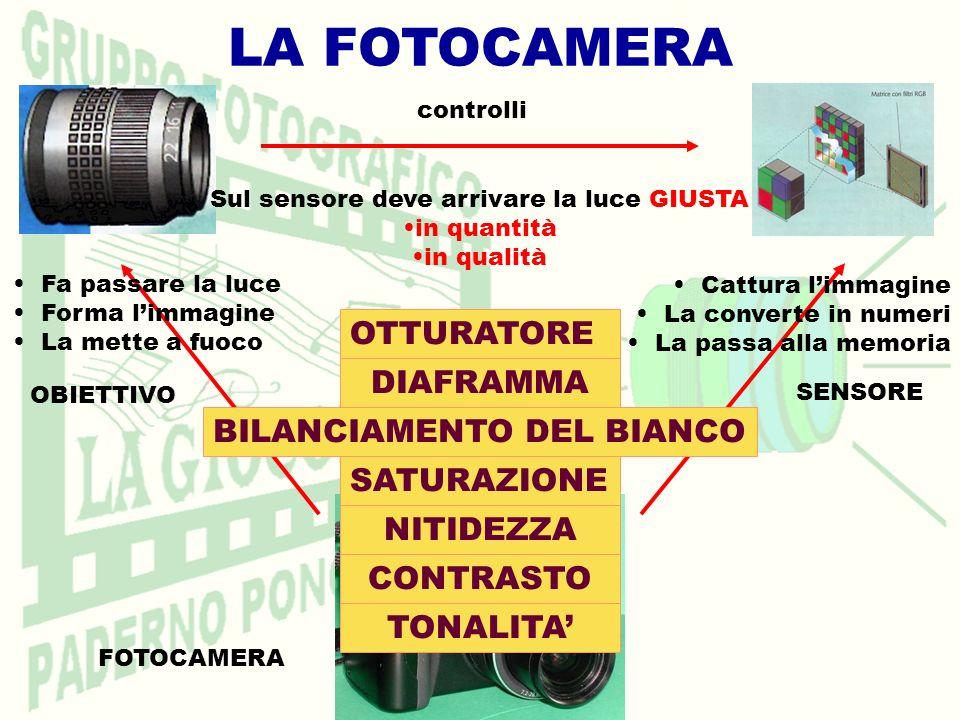 LA FOTOCAMERA FOTOCAMERA SENSORE OBIETTIVO Fa passare la luce Forma limmagine La mette a fuoco Sul sensore deve arrivare la luce GIUSTA in quantità in qualità OTTURATORE DIAFRAMMA BILANCIAMENTO DEL BIANCO Cattura limmagine La converte in numeri La passa alla memoria controlli TONALITA CONTRASTO NITIDEZZA SATURAZIONE