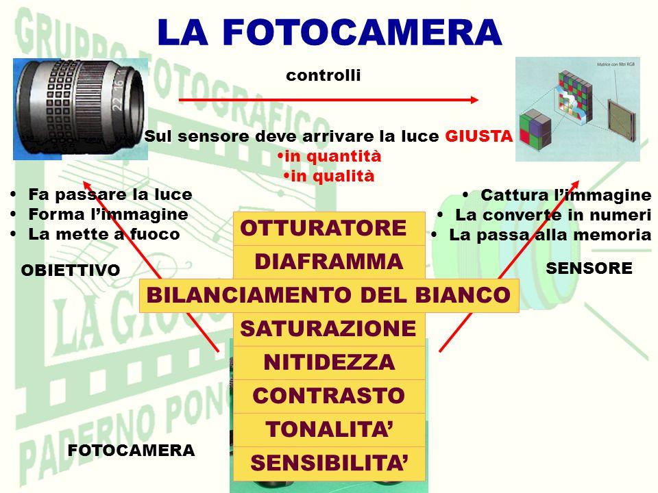 LA FOTOCAMERA FOTOCAMERA SENSORE OBIETTIVO Fa passare la luce Forma limmagine La mette a fuoco Sul sensore deve arrivare la luce GIUSTA in quantità in qualità OTTURATORE DIAFRAMMA BILANCIAMENTO DEL BIANCO Cattura limmagine La converte in numeri La passa alla memoria controlli TONALITA CONTRASTO NITIDEZZA SATURAZIONE SENSIBILITA