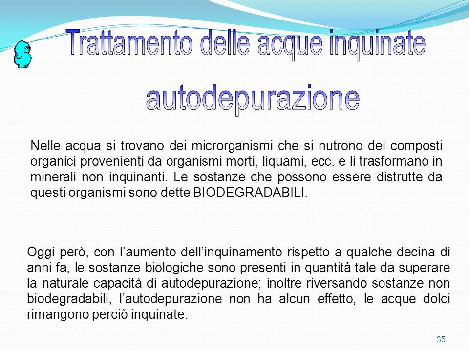 34 Capacità dellacqua di distruggere agenti patogeni depurazionepotabilizzazione Acqua per uso agricolo ed industriale Acqua per uso potabile