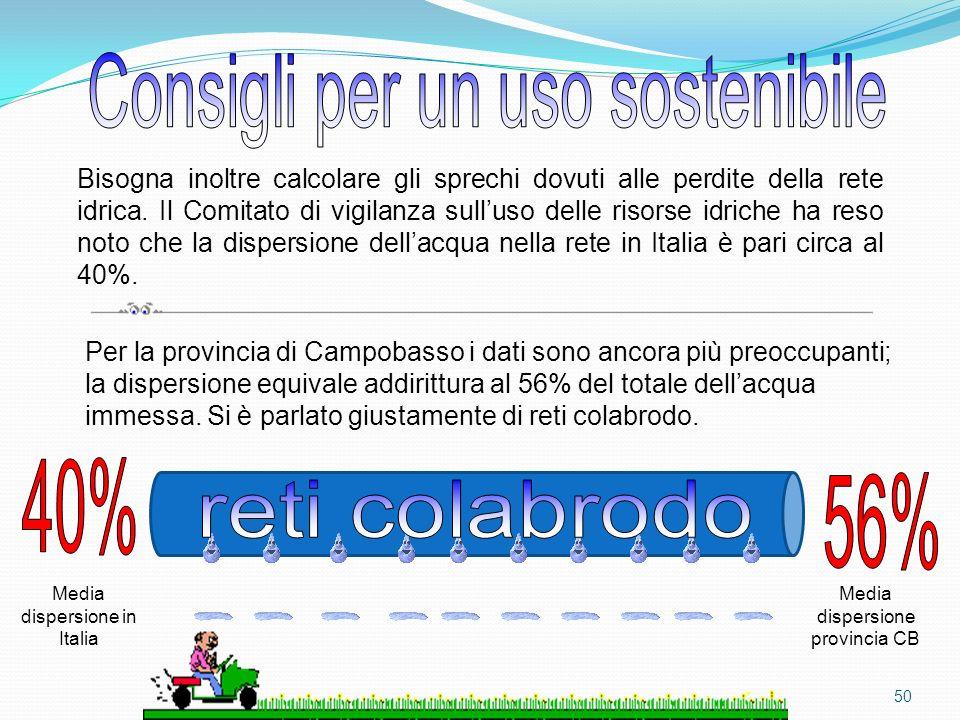 49 Il consumo medio giornaliero di acqua in Italia è di circa 200 litri a persona, ossia circa 5 volte in più della quantità necessaria indicata dalla Commissione mondiale per lacqua Di questi però ne beviamo solo circa 3 litri e la maggior parte viene sprecata.