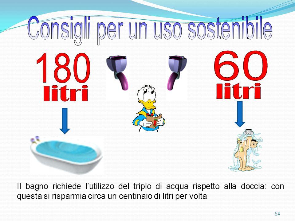 53 Per lavare lauto si possono arrivare ad usare fino a 800 litri di acqua (POTABILE), se invece di una pompa si usa un secchio si possono risparmiare circa 500 litri.