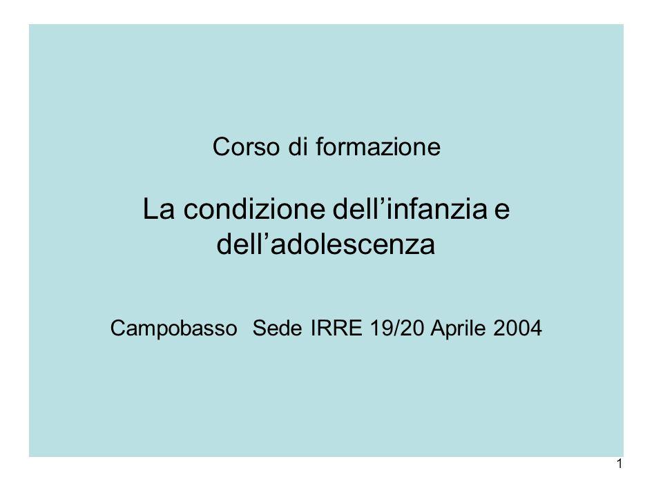 1 Corso di formazione La condizione dellinfanzia e delladolescenza Campobasso Sede IRRE 19/20 Aprile 2004