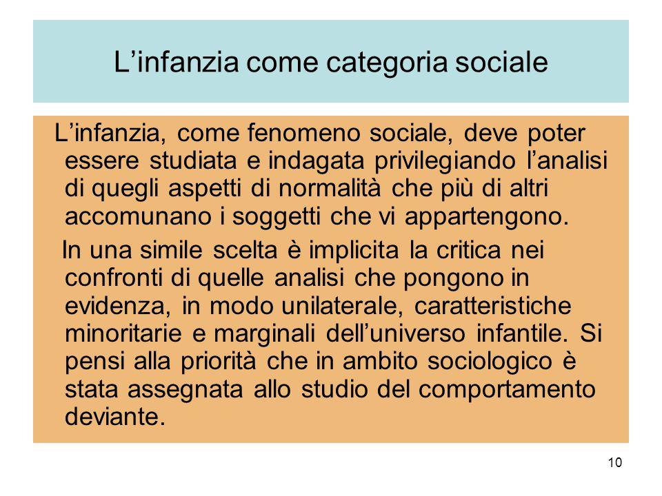 10 Linfanzia come categoria sociale Linfanzia, come fenomeno sociale, deve poter essere studiata e indagata privilegiando lanalisi di quegli aspetti di normalità che più di altri accomunano i soggetti che vi appartengono.