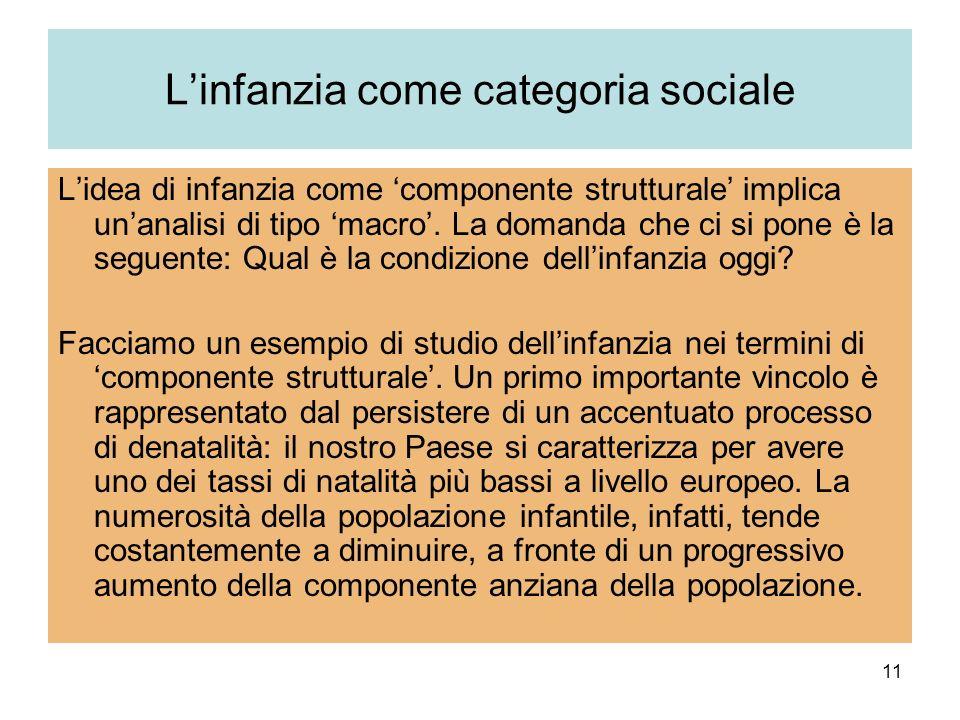 11 Linfanzia come categoria sociale Lidea di infanzia come componente strutturale implica unanalisi di tipo macro. La domanda che ci si pone è la segu