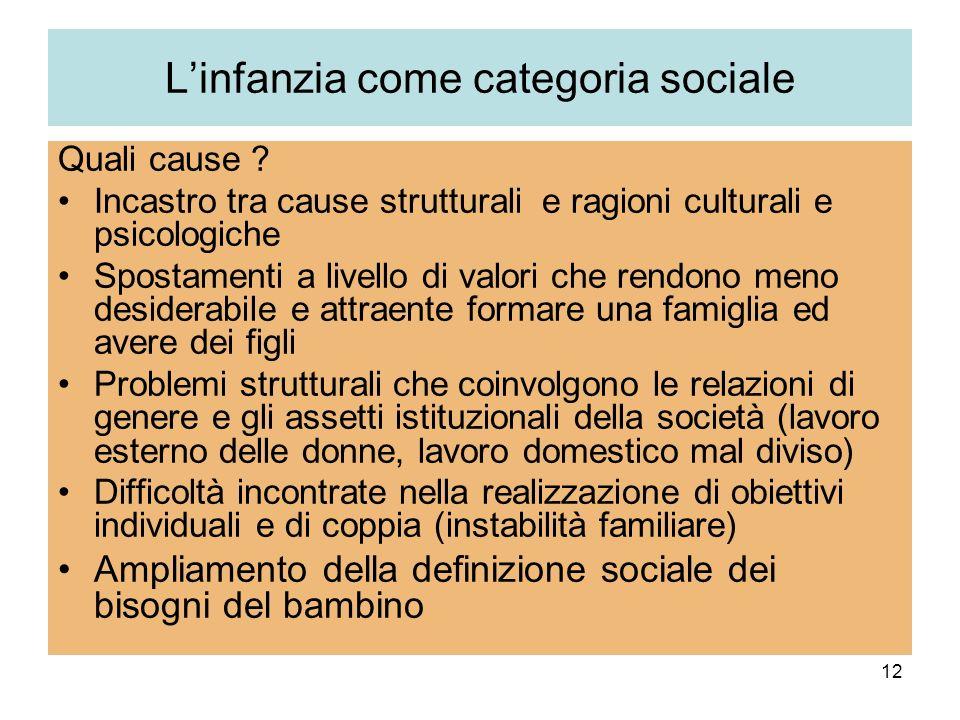 12 Linfanzia come categoria sociale Quali cause ? Incastro tra cause strutturali e ragioni culturali e psicologiche Spostamenti a livello di valori ch