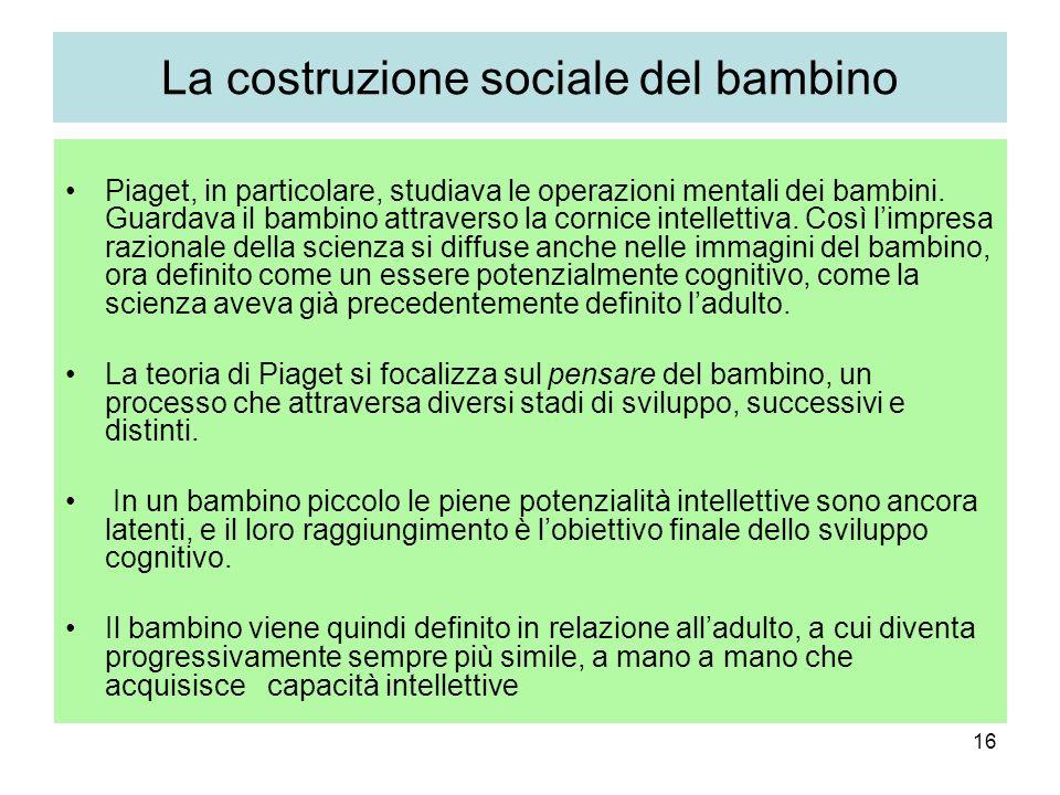 16 La costruzione sociale del bambino Piaget, in particolare, studiava le operazioni mentali dei bambini. Guardava il bambino attraverso la cornice in
