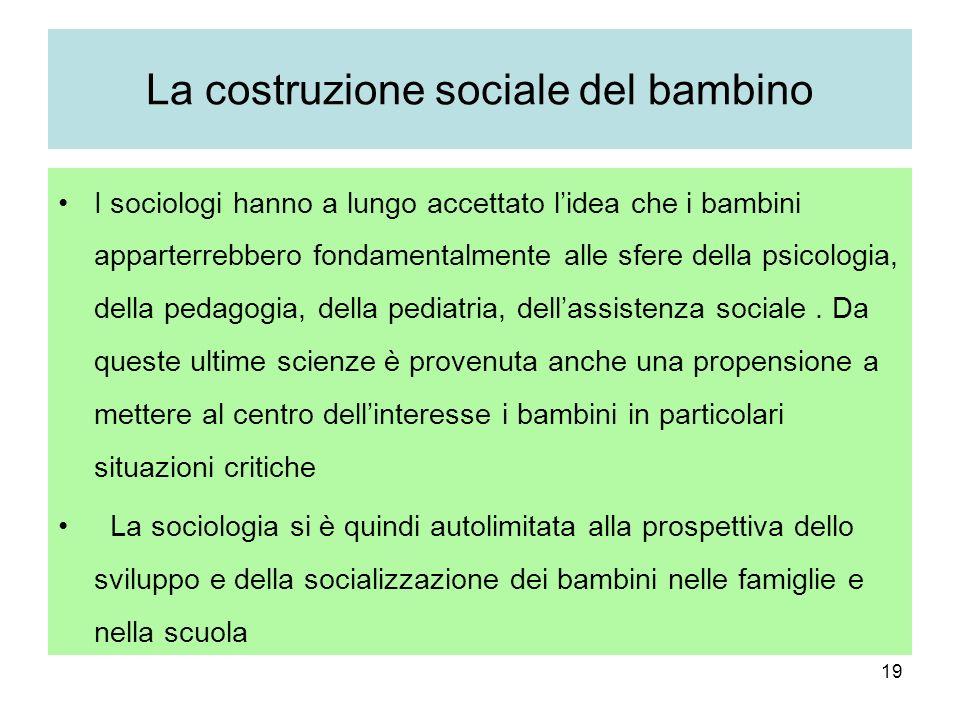 19 La costruzione sociale del bambino I sociologi hanno a lungo accettato lidea che i bambini apparterrebbero fondamentalmente alle sfere della psicologia, della pedagogia, della pediatria, dellassistenza sociale.
