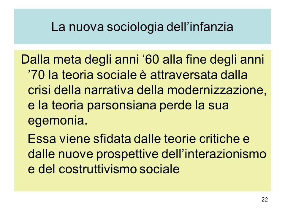 22 La nuova sociologia dellinfanzia Dalla meta degli anni 60 alla fine degli anni 70 la teoria sociale è attraversata dalla crisi della narrativa della modernizzazione, e la teoria parsonsiana perde la sua egemonia.