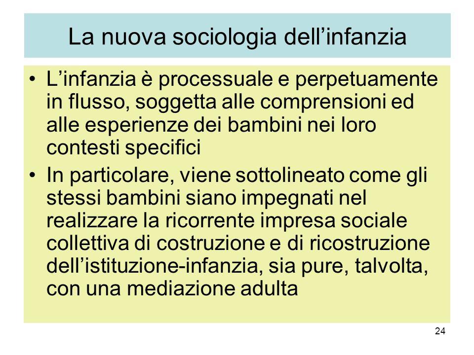 24 La nuova sociologia dellinfanzia Linfanzia è processuale e perpetuamente in flusso, soggetta alle comprensioni ed alle esperienze dei bambini nei l