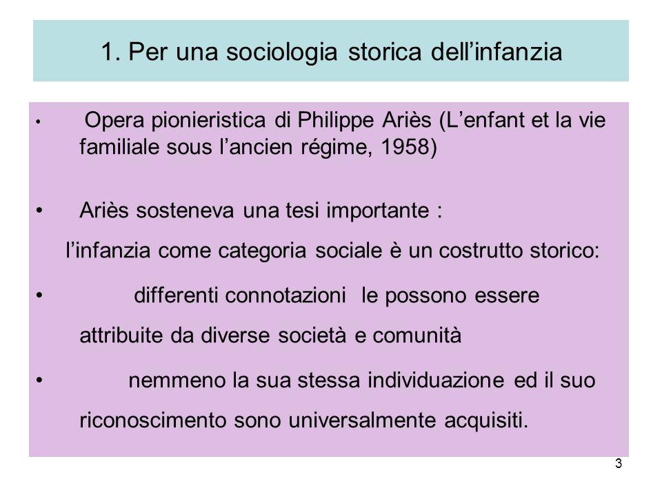 3 1. Per una sociologia storica dellinfanzia Opera pionieristica di Philippe Ariès (Lenfant et la vie familiale sous lancien régime, 1958) Ariès soste