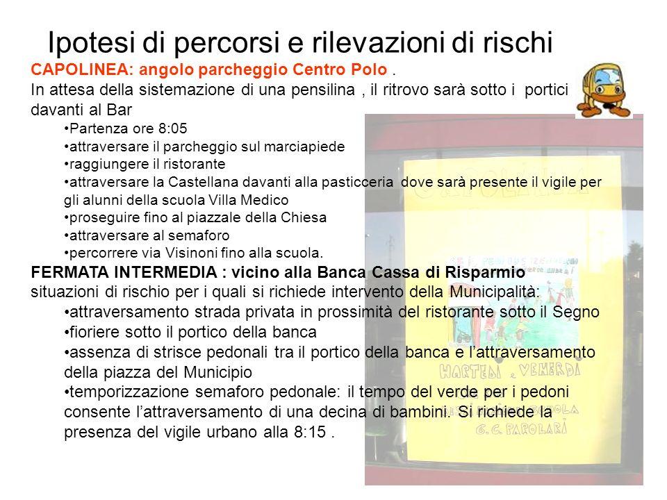 Ipotesi di percorsi e rilevazioni di rischi CAPOLINEA: angolo parcheggio Centro Polo.