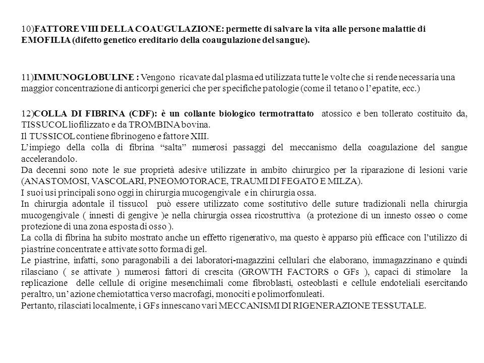 10)FATTORE VIII DELLA COAUGULAZIONE: permette di salvare la vita alle persone malattie di EMOFILIA (difetto genetico ereditario della coaugulazione de