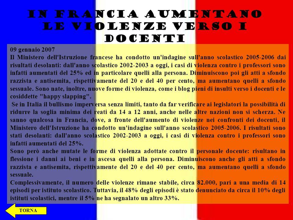 BULLISMO NEL MONDO BELGIO: ESPULSO DA SCUOLA, 16ENNE ACCOLTELLA IL DIRETTORE BELGIO: ESPULSO DA SCUOLA, 16ENNE ACCOLTELLA IL DIRETTORE IN FRANCIA AUMENTANO LE VIOLENZE VERSO I DOCENTI IN FRANCIA AUMENTANO LE VIOLENZE VERSO I DOCENTI GIAPPONE, BULLISMO A SCUOLA GIAPPONE, BULLISMO A SCUOLA THE END