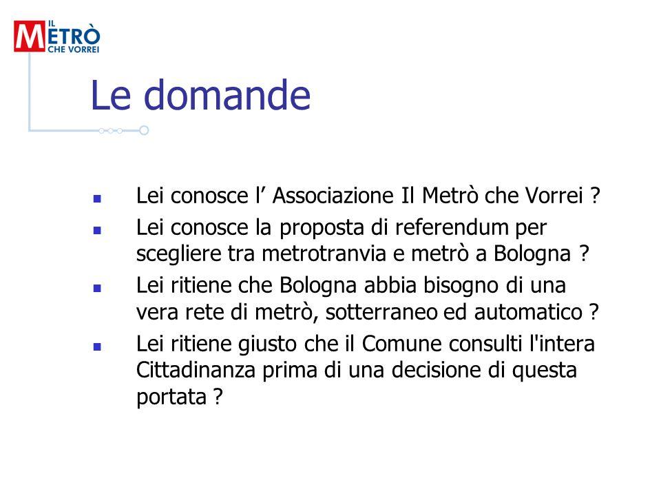Le domande Lei conosce l Associazione Il Metrò che Vorrei ? Lei conosce la proposta di referendum per scegliere tra metrotranvia e metrò a Bologna ? L