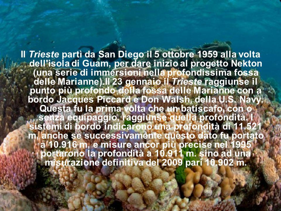 Il Trieste partì da San Diego il 5 ottobre 1959 alla volta dell'isola di Guam, per dare inizio al progetto Nekton (una serie di immersioni nella profo