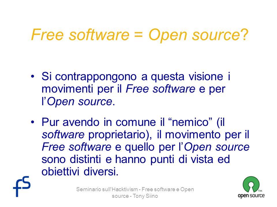 Seminario sull Hacktivism - Free software e Open source - Tony Siino Distinzioni Free software il software deve essere libero (non nel senso di gratuito, bensì di non proprietario, aperto) per motivi sociali, etici.