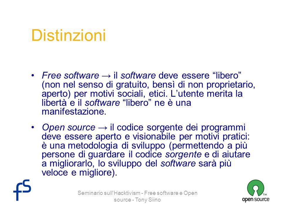 Seminario sull'Hacktivism - Free software e Open source - Tony Siino Distinzioni Free software il software deve essere libero (non nel senso di gratui