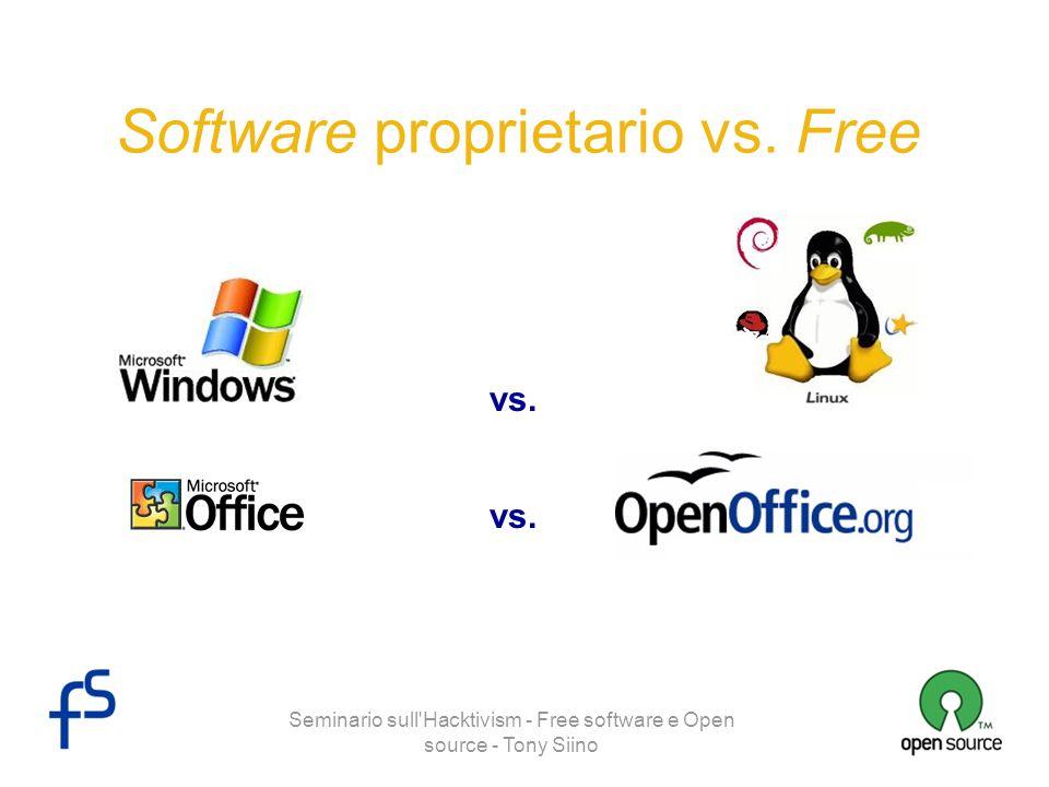 Seminario sull Hacktivism - Free software e Open source - Tony Siino Vantaggi di Free software e Open source AMMINISTRAZIONE DEL SISTEMA -Il controllo totale del software (sorgente incluso), permette di rilevare e risolvere i problemi in modo facile, veloce e sicuro.