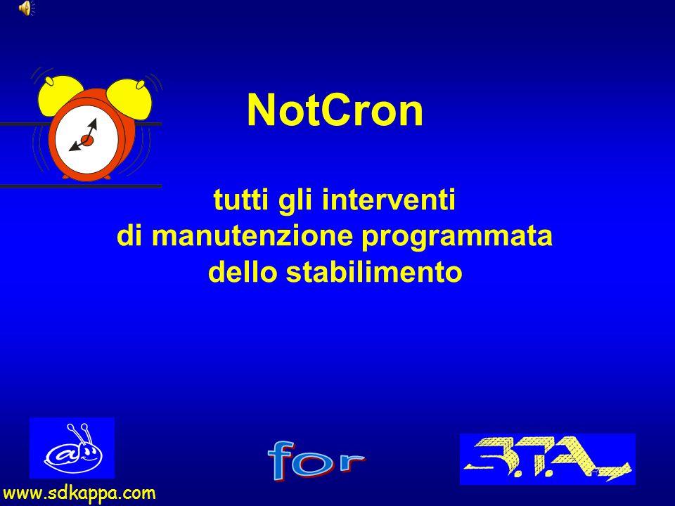 2 NotCron è un programma che può fotografare il vostro stabilimento evidenziando tutte quelle attrezzature che richiedono degli interventi di manutenzione programmata.