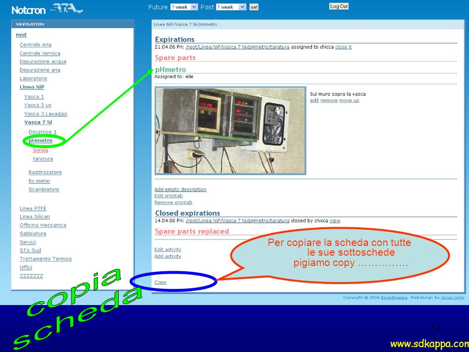 14 Per copiare la scheda con tutte le sue sottoschede pigiamo copy …………… www.sdkappa.com