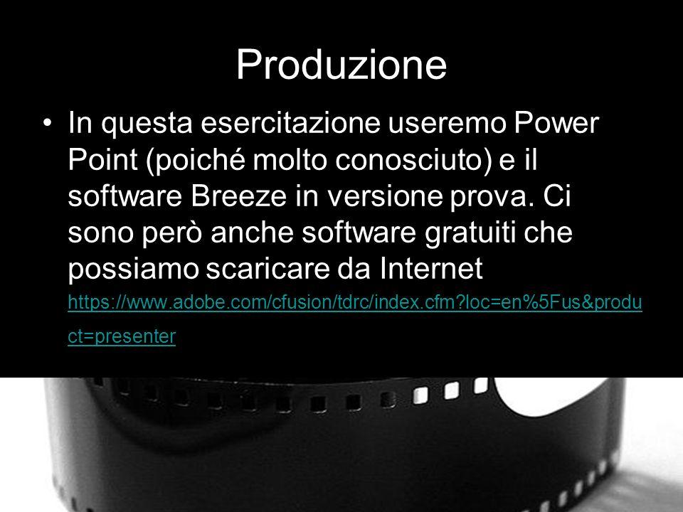 Produzione In questa esercitazione useremo Power Point (poiché molto conosciuto) e il software Breeze in versione prova.