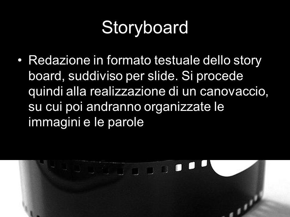 Storyboard Redazione in formato testuale dello story board, suddiviso per slide.