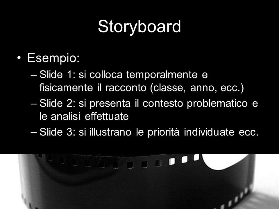 Storyboard Esempio: –Slide 1: si colloca temporalmente e fisicamente il racconto (classe, anno, ecc.) –Slide 2: si presenta il contesto problematico e le analisi effettuate –Slide 3: si illustrano le priorità individuate ecc.