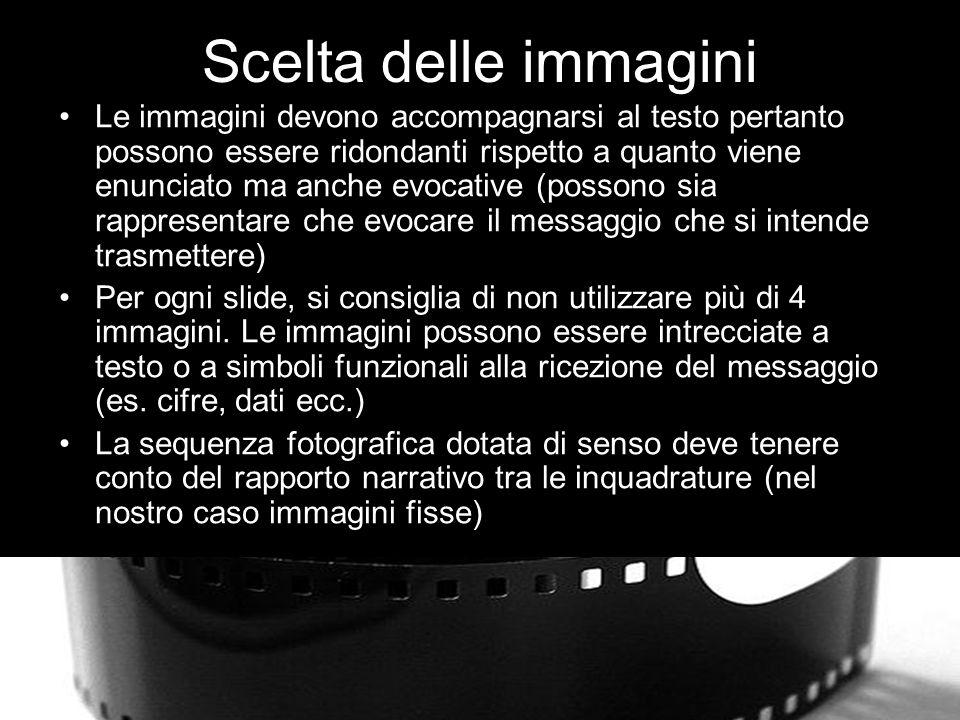 Scelta delle immagini Le immagini devono accompagnarsi al testo pertanto possono essere ridondanti rispetto a quanto viene enunciato ma anche evocative (possono sia rappresentare che evocare il messaggio che si intende trasmettere) Per ogni slide, si consiglia di non utilizzare più di 4 immagini.