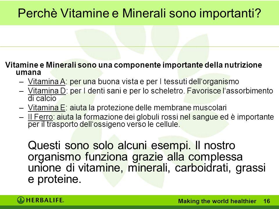 Perchè Vitamine e Minerali sono importanti.